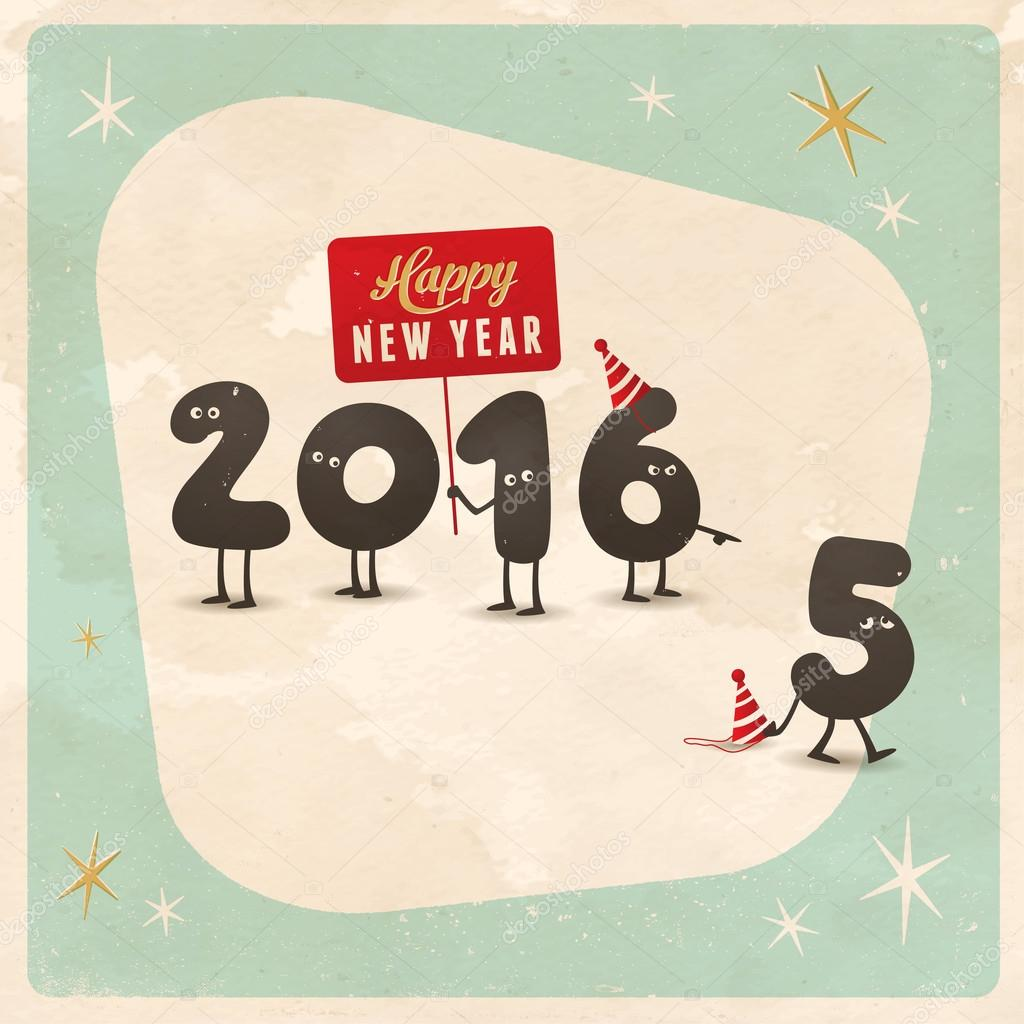 Superior Vintage Style Funny Greeting Card   Happy New Year 2016 U2014 Stock Vector
