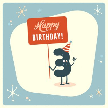 "Картина, постер, плакат, фотообои ""смешная открытка на 3 дня рождения "", артикул 88664932"
