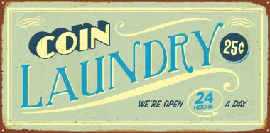 Vintage tin sign - Coin Laundry