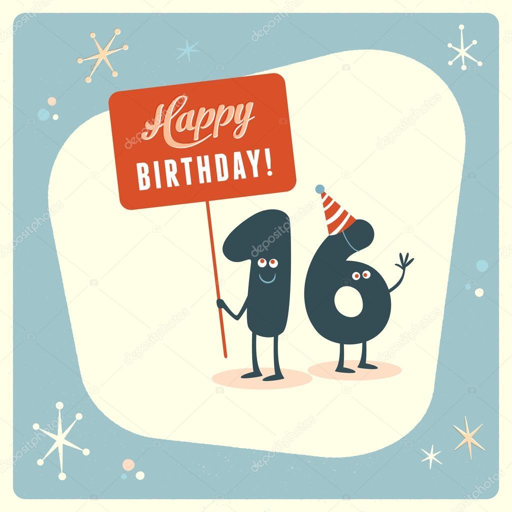 Funny 16th Birthday Card Stock Vector