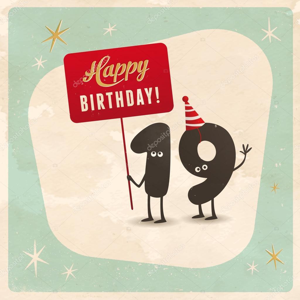 Funny 19th Birthday Card Stock Vector