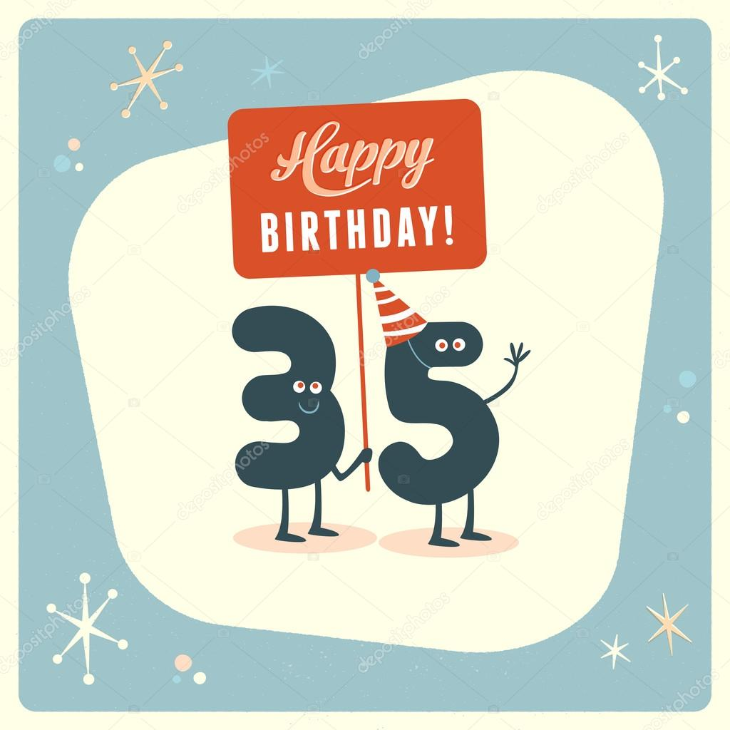 Funny 35th Birthday Card Stock Vector