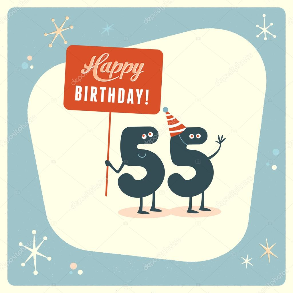 Funny 55th Birthday Card Stock Vector
