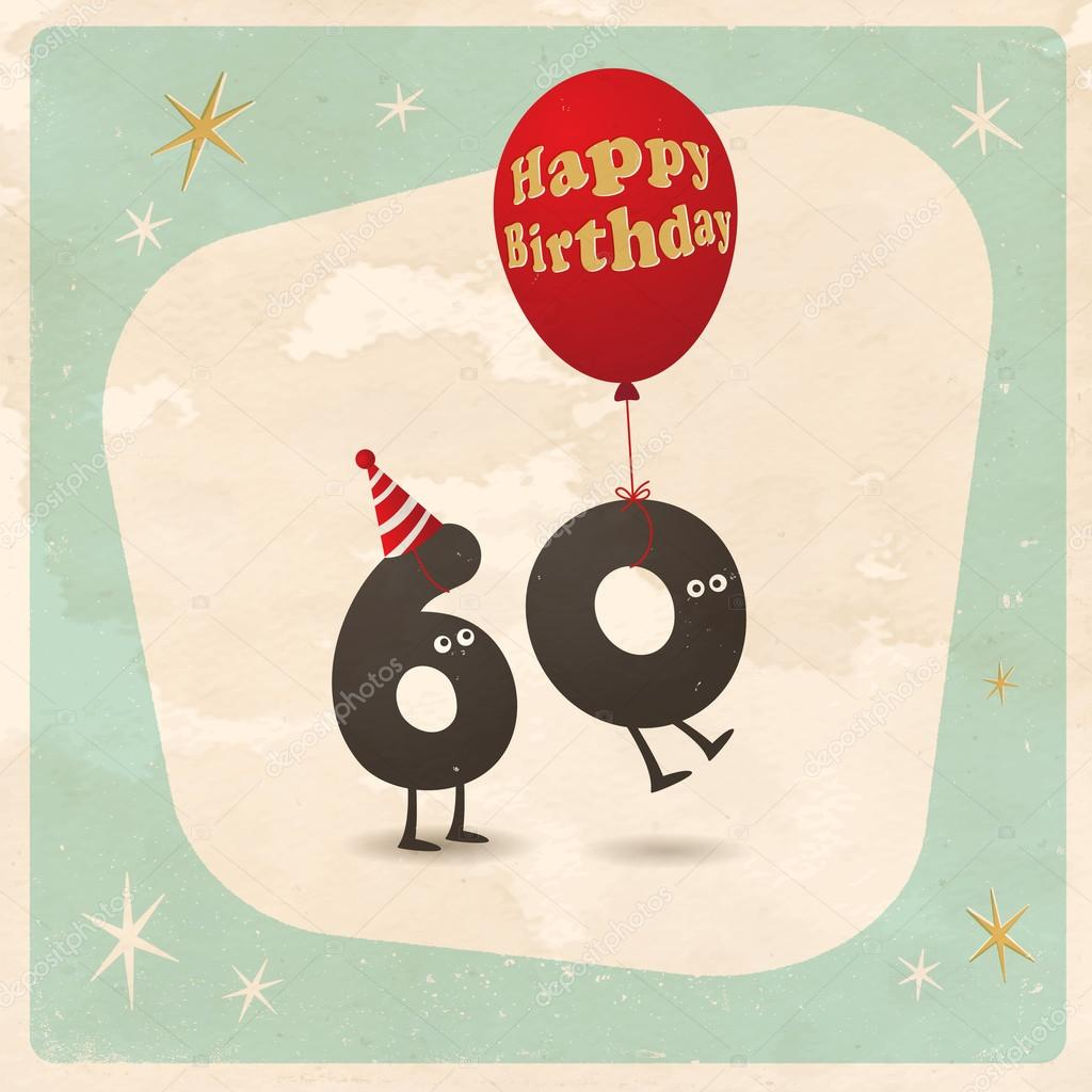 Funny 60th Birthday Card Stock Vector