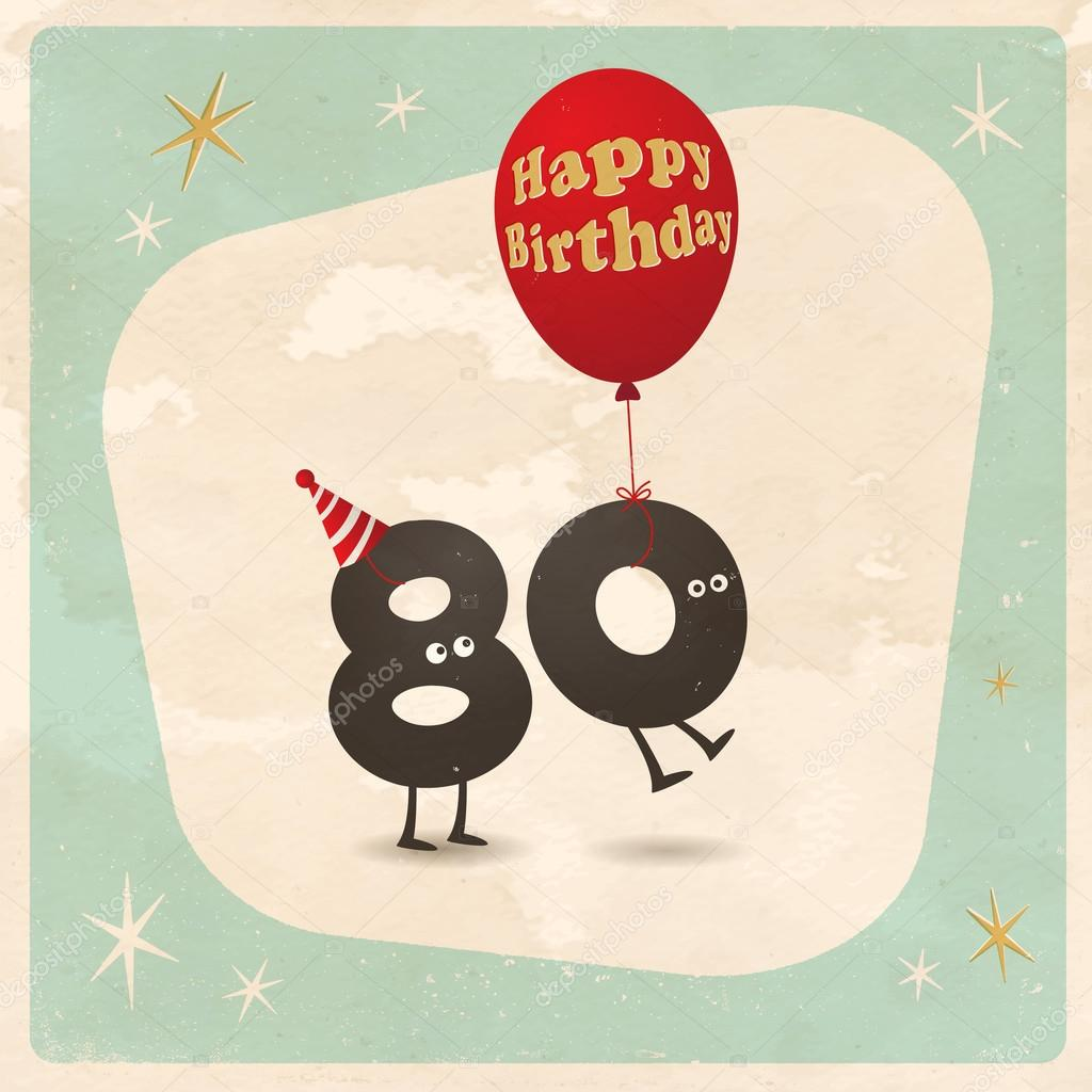 Funny 80th Birthday Card Stock Vector