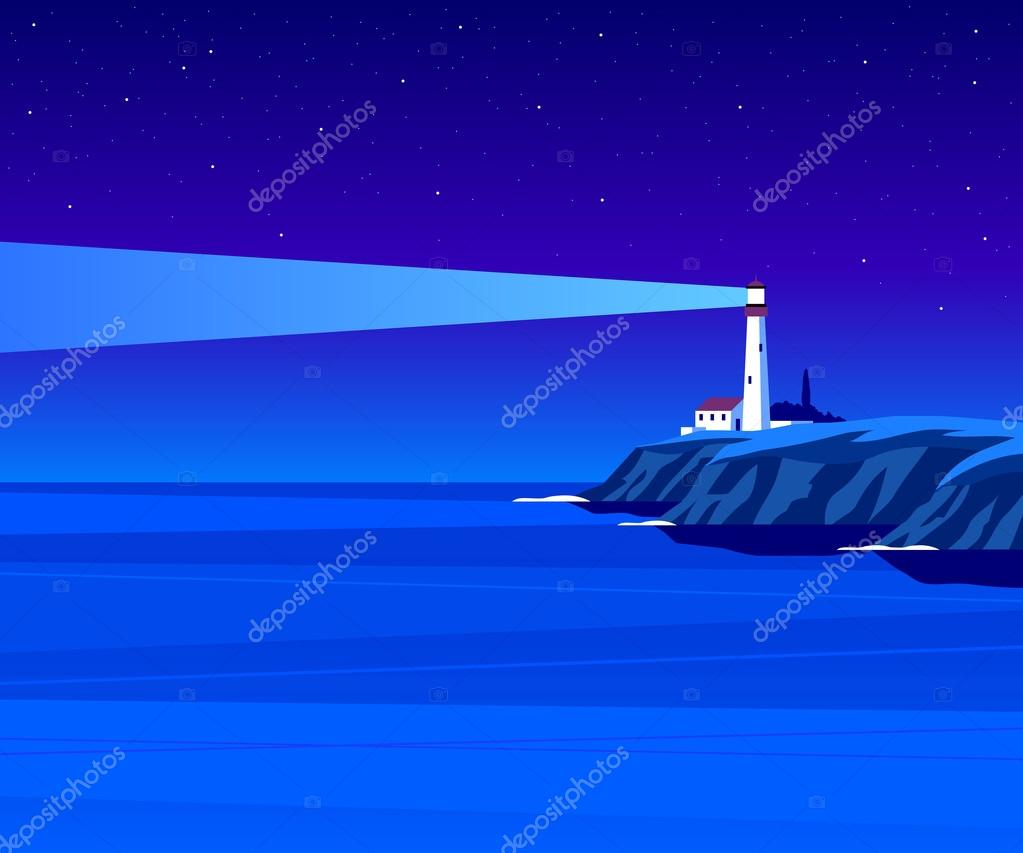 Lighthouse by night illustration
