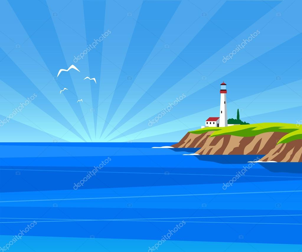 Lighthouse by day illustration