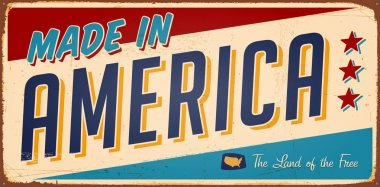 Vintage Made in America Metal Sign - Vector stock vector