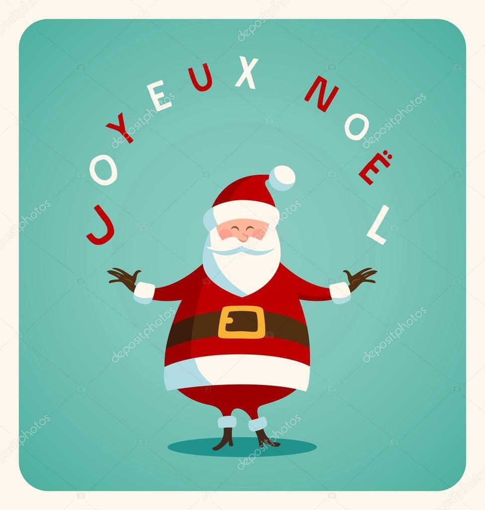 weihnachtskarte mit weihnachtsmann auf franz sisch. Black Bedroom Furniture Sets. Home Design Ideas