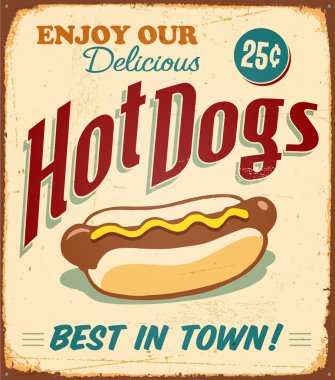 Vintage tin sign - Hot Dogs - Vector EPS10. Grunge effects can be removed. clip art vector