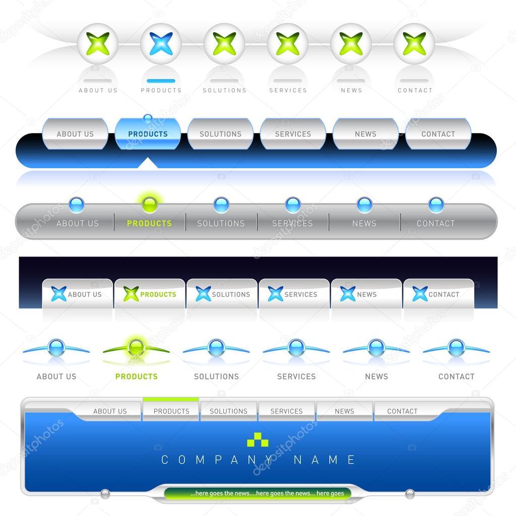 einfach Web Navigation Schablonen bearbeiten — Stockvektor ...