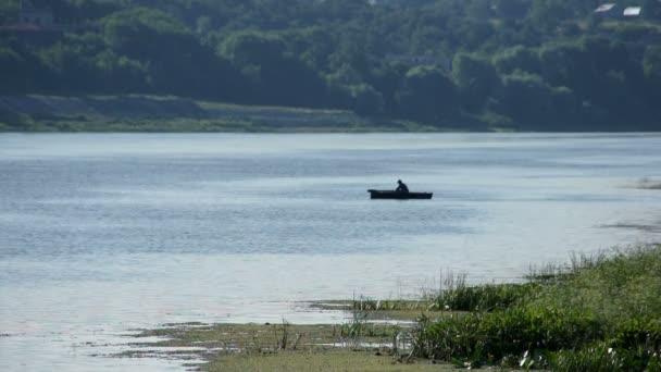 Malebný pohled letní řeky s fisher