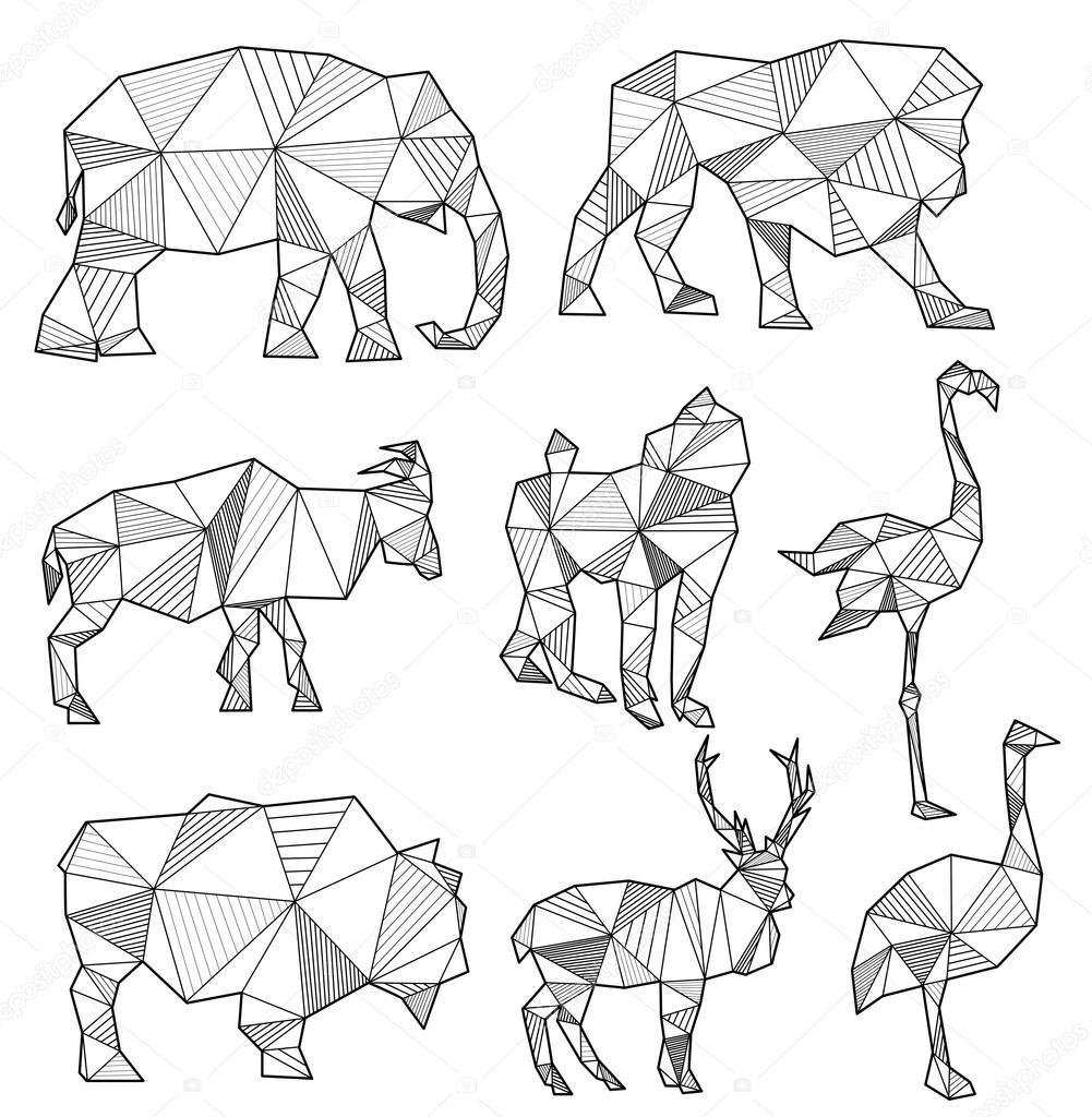 Vector Set Of Origami Animal Silhouettes Elephant Lion Goat Stock