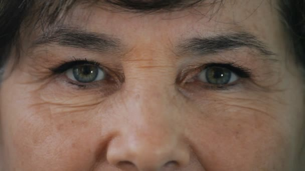 close up eyes of an old woman