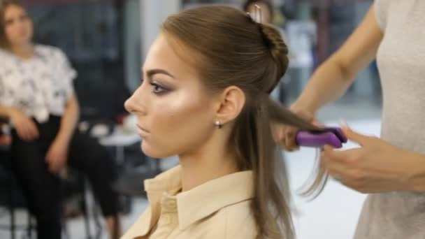 Profesionální kadeřník používá vlasy rovné Iron žehlička vlasy