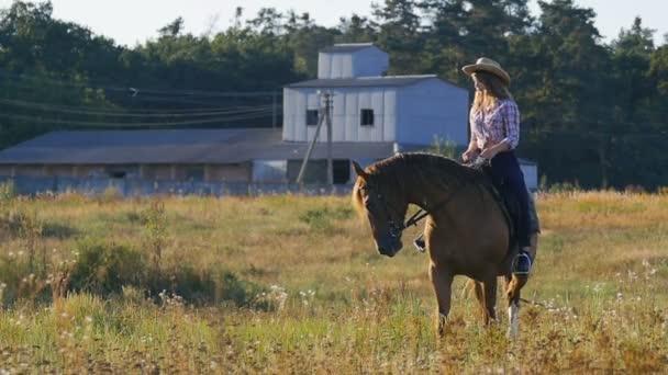 schöne Mädchen mit Hut auf einem Pferd in der Landschaft in Zeitlupe