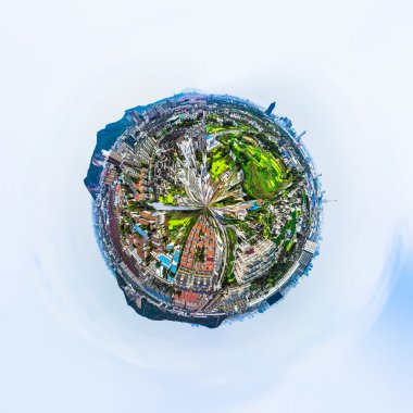 Overpopulated urban planet covered in city buildings