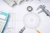 Stavební výkresy snímek třmen ložiska na plán architektury a koncepce budování