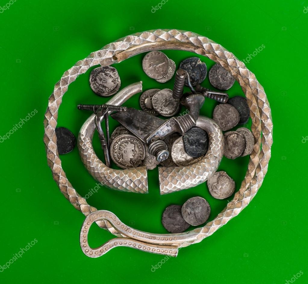Antique Treasure Trove Of Roman Coins And Jewelry Photo By Bukhta79