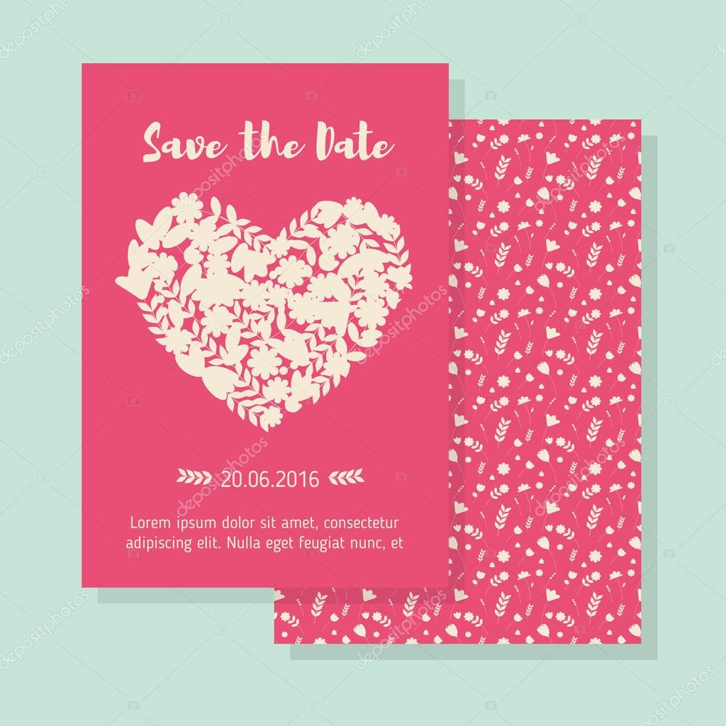 monochrome heart save the date wedding template ストックベクター