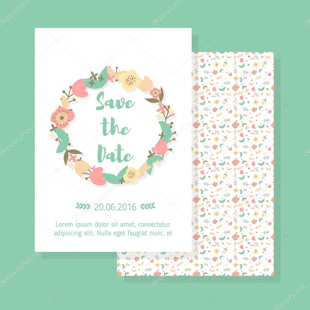Wedding vintage card template vetor de stock etplusheliosail save the date vintage card wedding invitation with floral wreath and pattern in pastel colors blue background vector wedding template vetor por stopboris Gallery