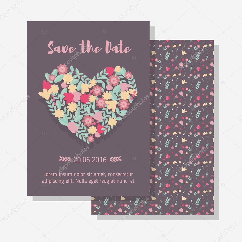 Wedding floral heart invitation vetores de stock etplushelios vector wedding template valentine day template wedding nature invitation vetor de etplusheliosail stopboris Gallery