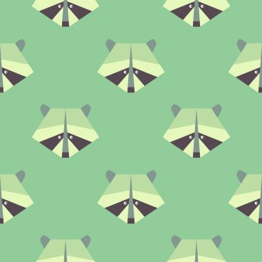 Seamless raccoon pattern on green backgroun
