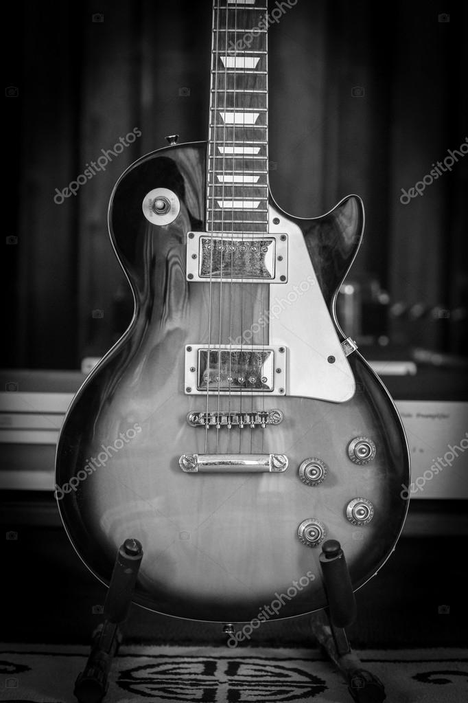 Pictures: black and white guitar | Old Electric Guitar in