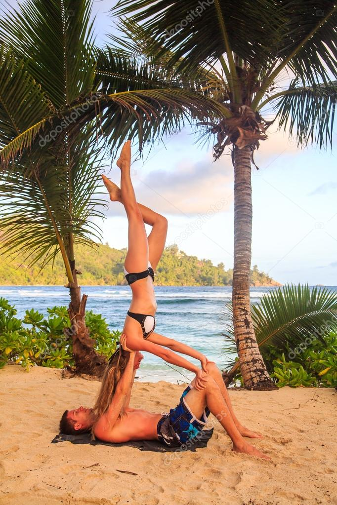 Acroyoga during sunset