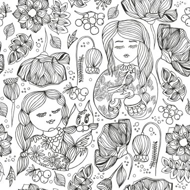 Floral decorative monochrome seamless pattern. Adult antistress