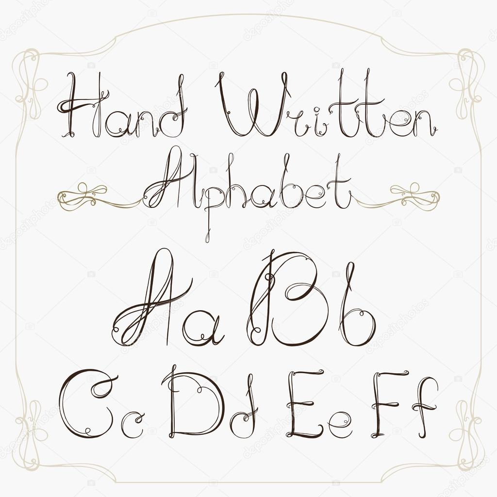 Hand Drawn Decorative Vintage Vector ABC LettersNice Font Stock Photo