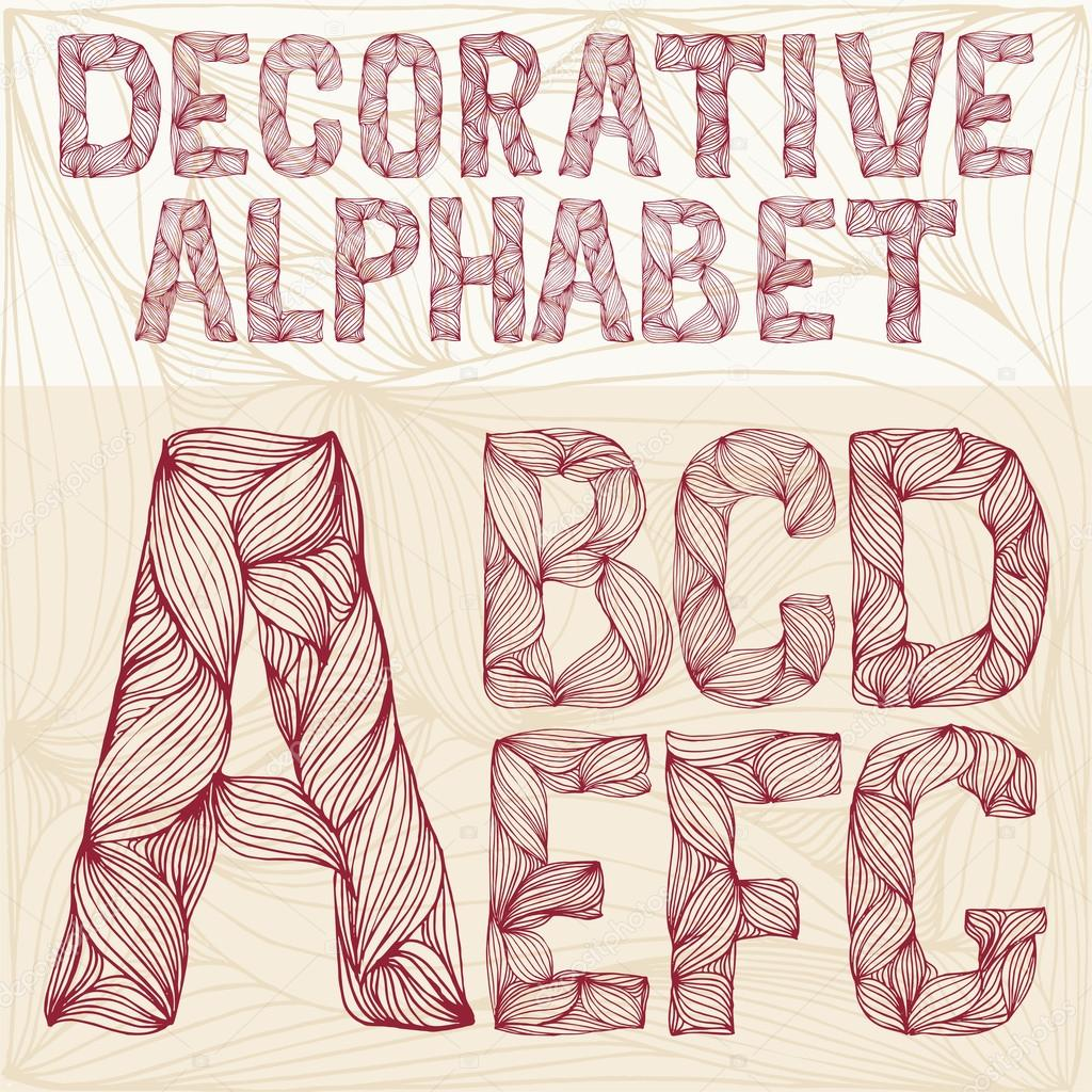 Hand Drawing Decorative Ornate Alphabet A G Typography Collecti Stock Photo