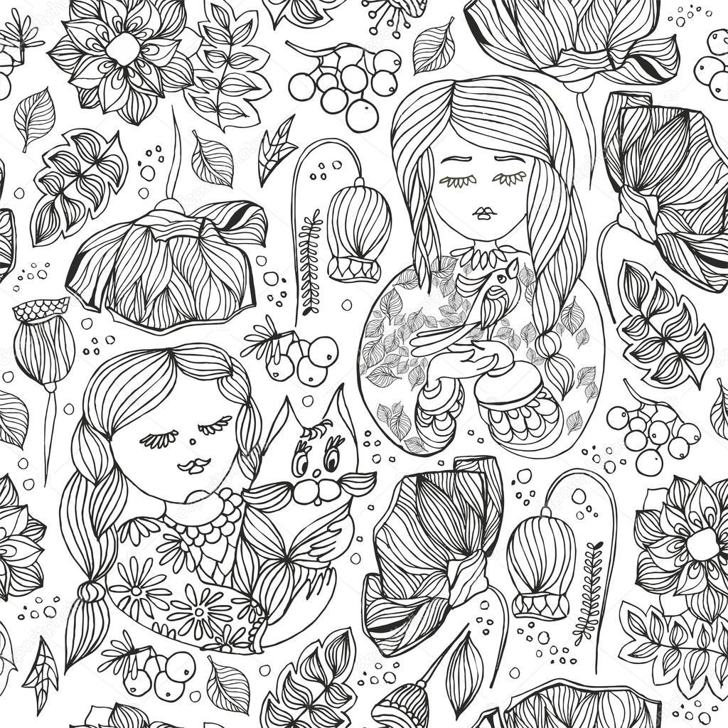 Floral decorative monochrome seamless pattern. Adult antistress