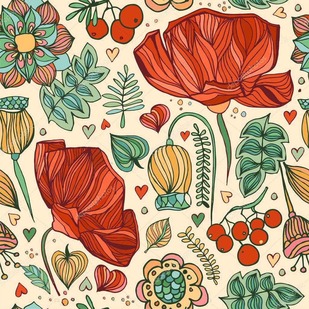 Hand drawing floral seamless background. Vector fabric  pattern.