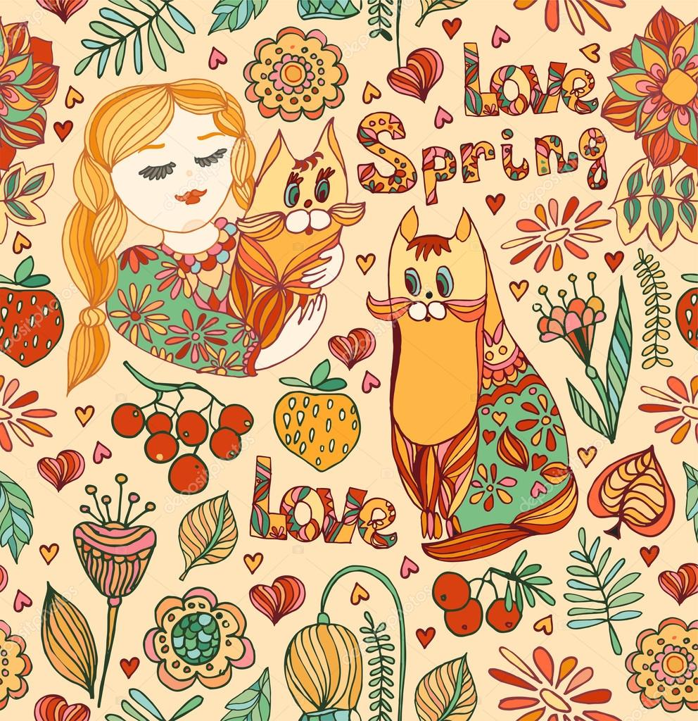decorative seamless pattern with young girls, cat, bird, flowers