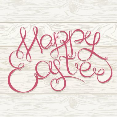 Happy easter Hand drawing lettering headline on wooden background. Eastel greeting card stock vector