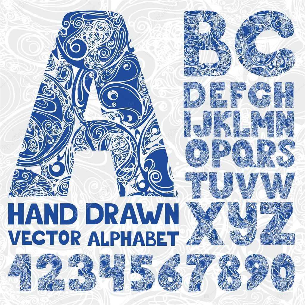 Decorative ornate alphabet. Hand drawing vector number and typog