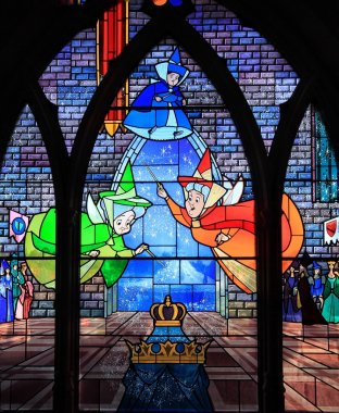 Disney Stain Glass Window Of The Three Fairy Godmothers