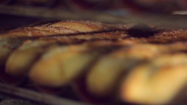 Shelves of fresh crispy bread in the bakery