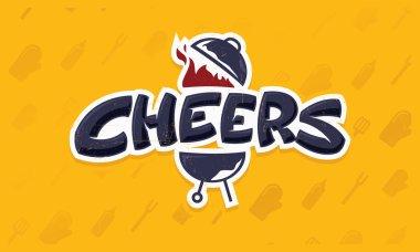 Cheers lettering vector logo sketch
