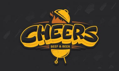 Cheers lettering vector logo sketch