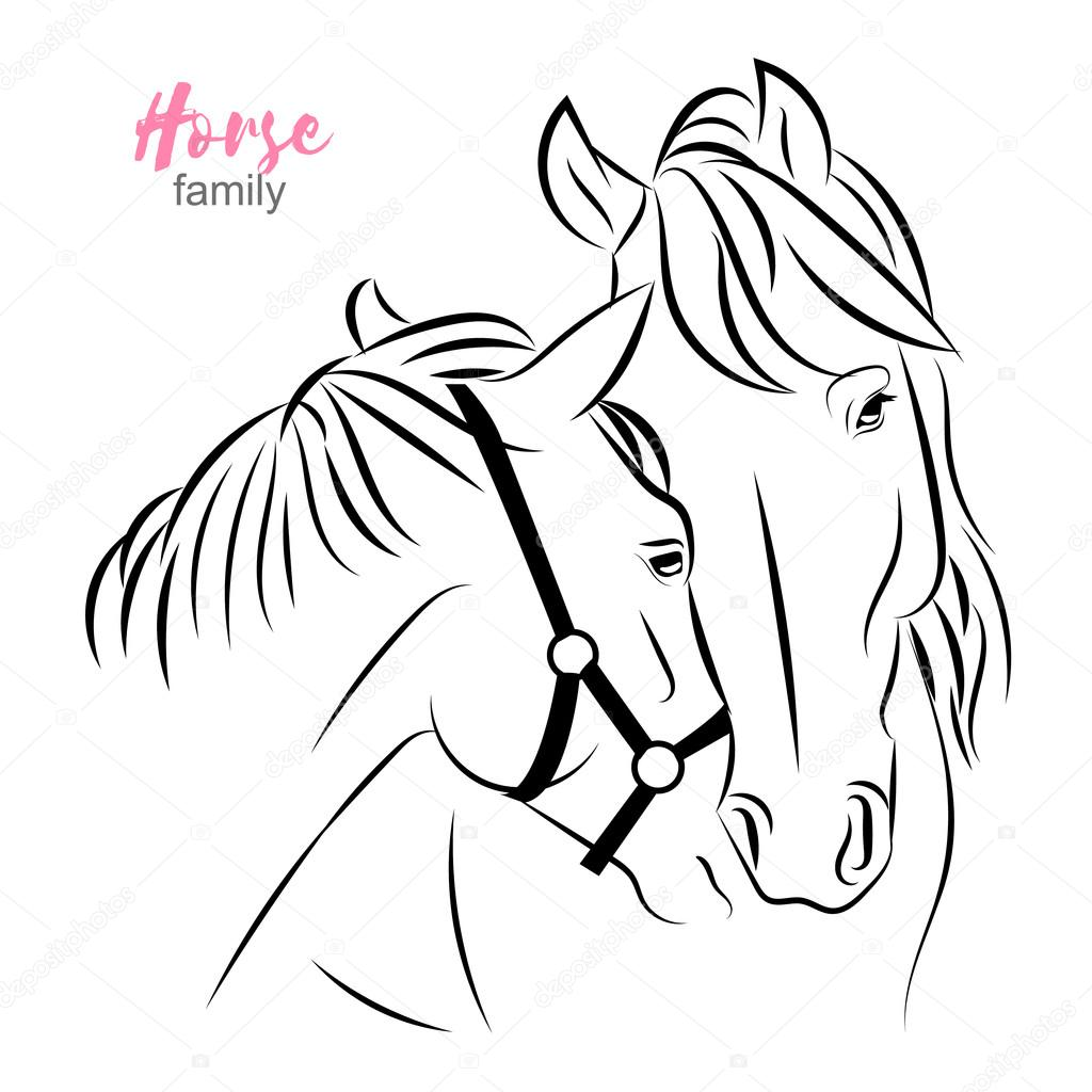 Two Horses Express Care And Love To Each Other Mother And Foal Vector Sketch Illustration Stock Vector C Irinabelokrylova 105122782