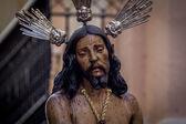 Svatý týden v Cádiz, Španělsko. Ježíš je vázána na sloupec a biče a svaté Marie slzy, The sloupec. Closeup