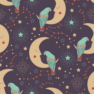 Vector seamless pattern with crescent moons, parrots, ursa major and stars