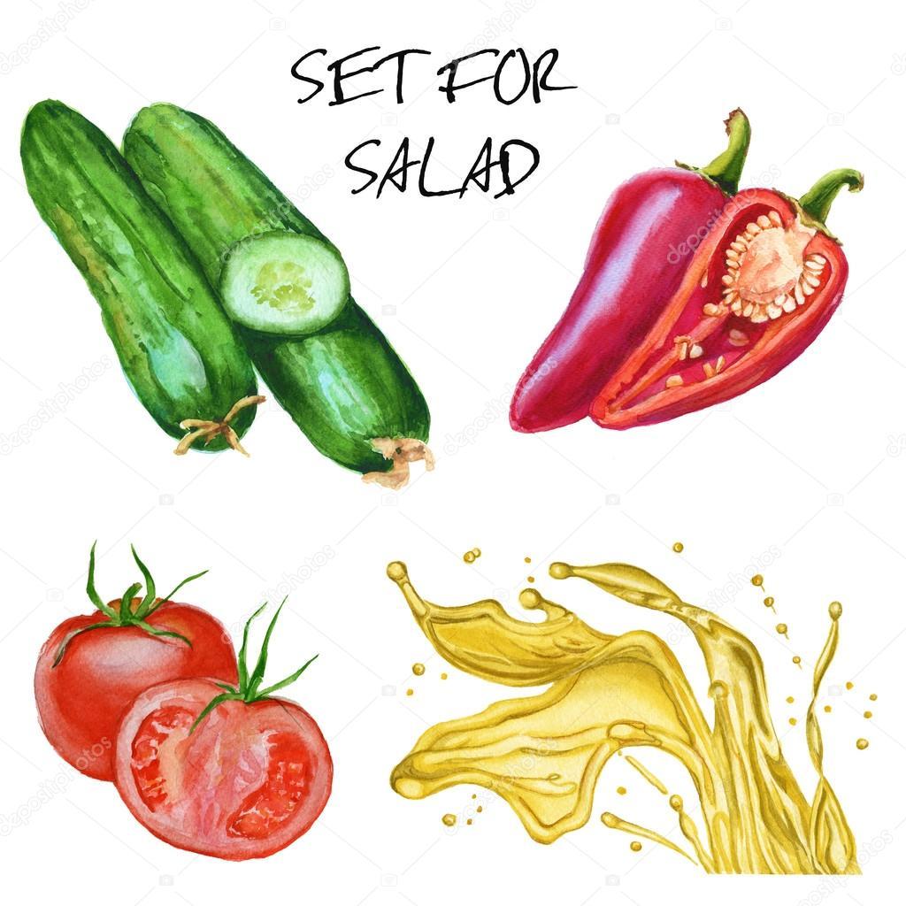 Salata Icin Ayarlayin Salatalik Domates Biber Ve Zeytinyagi