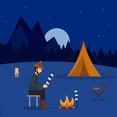 Hiking and outdoor set flat camping travel vector illustration
