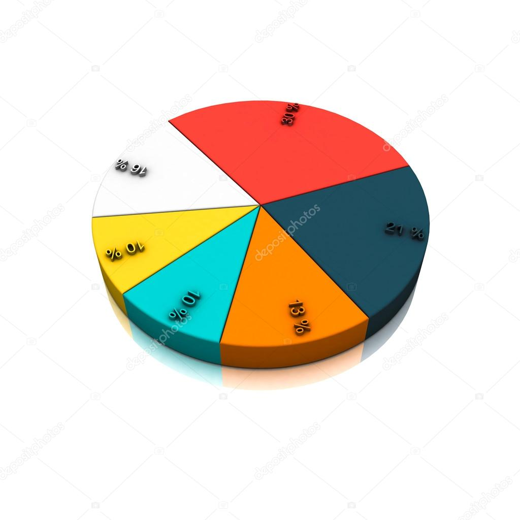 Pie chart template  Colorful 3D rendering illustration