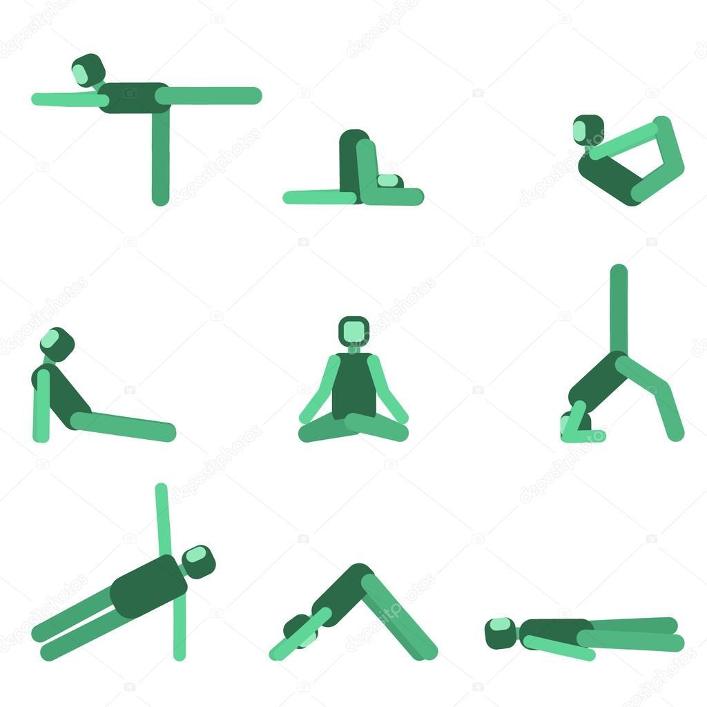 Yoga plantean conjunto de iconos. Colección de asanas. Ilustración de  vector — Vector de 6e66ba24cdaa