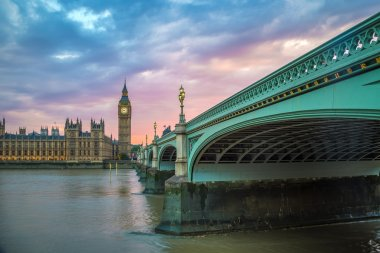 Westminster Bridge, Big Ben and Houses of Parliament at sunset, London, UK