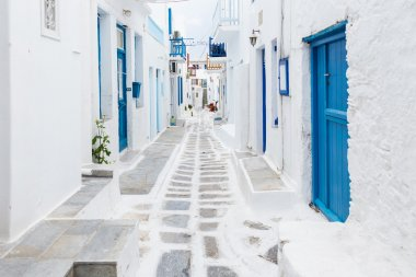 Mykonos empty streetview at early morning, Greece